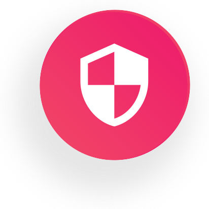 Round icon with web security symbol