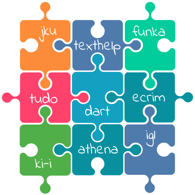 Square puzzle with 9 puzzle pieces. In Each piece is the name of one project partner: JKU, text help, funka, TU Do, dart, ecrim, ki-i, Athena and igl