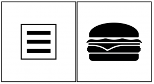 Example of a hamburger icon next to a hamburger