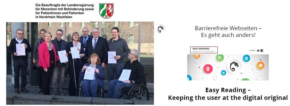 """Links Foto von der Beauftragten der Landesregierung für Menschen mit Behinderung und Mitglieder des Landeshindertenbeirats, recht daneben Easy Reading Logo """"Barrierefreie Webseite - Es geht auch anders"""""""