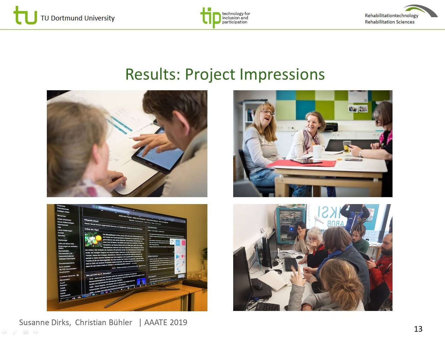 Chart with project impressions, peer-researcher working together with developers