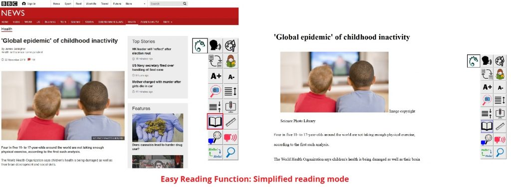 Simplified reading mode on bbc website