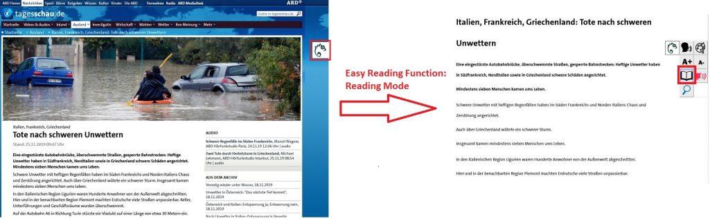 Vereinfachter Lesemodus am Beispield er ARD-Seite zum Thema Überschwemmungen in Italien. Auf der linken Seite ist die Originalseite zu sehen, auf der rechten Seite der vereinfachte Modus.