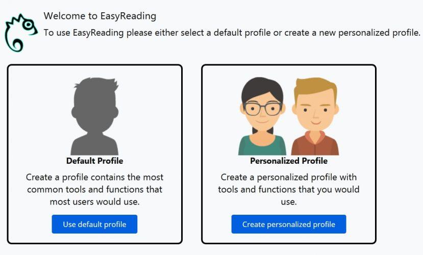 Hier kann man die Startseite für den neuen Dialog für die Profileinstellungen sehen. Auf der linken Seite kann das Default-Profil ausgesucht werden, Auf der rechten Seite ist das Bild mit dem entsprechenden Untertitel für die personalisierten Profile zu sehen.