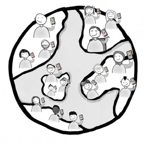 Illustration einer Weltkugel. Auf der Kugel sind Menschen mit Smartphones in ihrer Hand gezeichnet