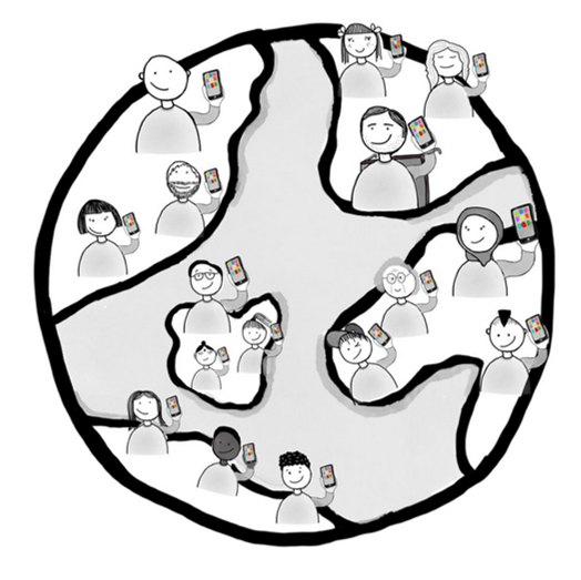 Illustration of a globe with people holding smartphones up in the air