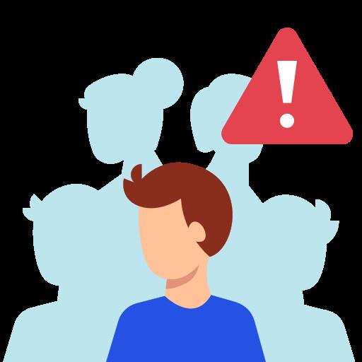 Icon mit 5 Personen. Ein Mann steht im Vordergrund und ist farbig dargestellt. Über dem Mann ist ein rotes Warnschild. Im Hintergrund sind vier Personen in hellblau.