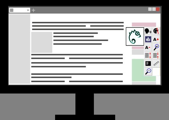 Icon Computerbildschirm mit geöffneter Webseite. Auf der Webseite ist das Easy Reading Programm geöffnet.
