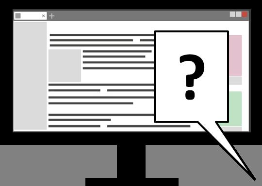 Icon Computerbildschirm mit geöffneter Webseite. Im Vordergrund eine Sprechblase mit einem Fragezeichen.