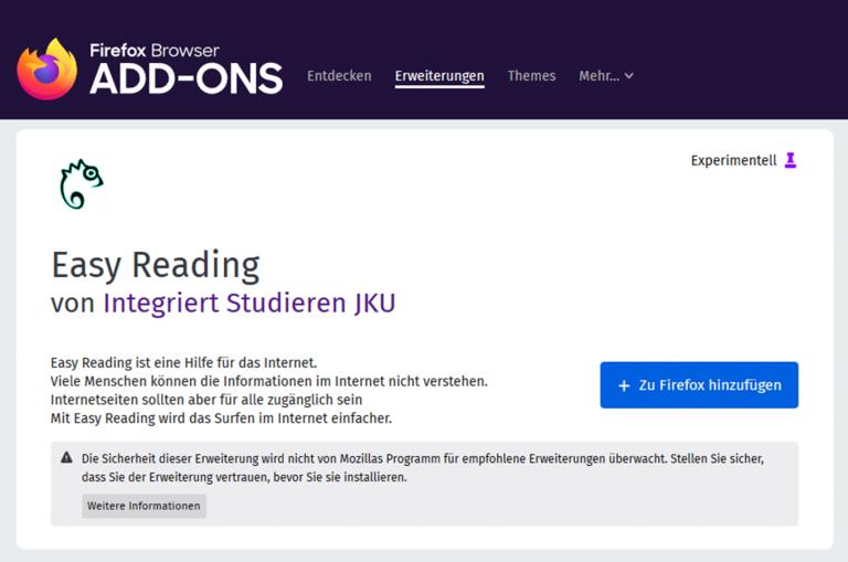 Easy Reading Firefox Add-On