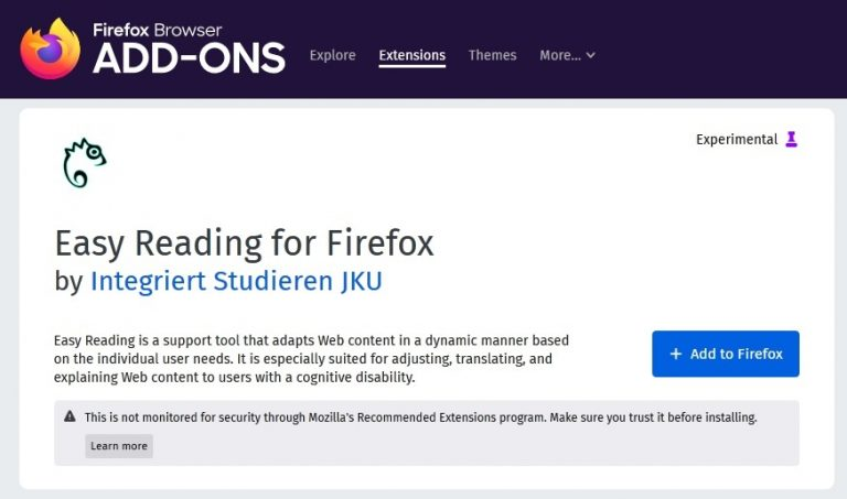 Screenshot of Easy Reading Firefox Add-On