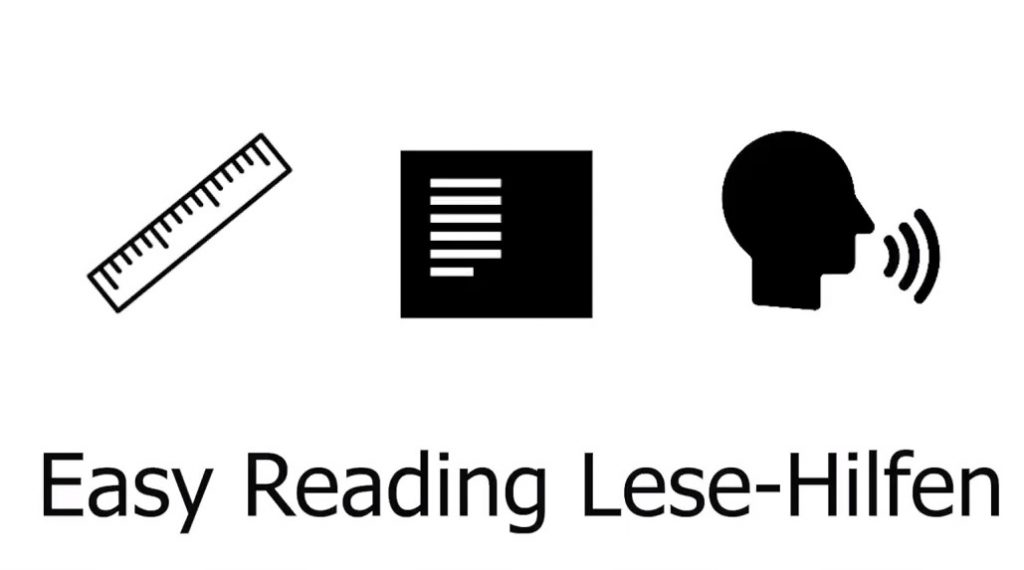 Symbole für Lesehilfe, Leseansicht und Vorlesen