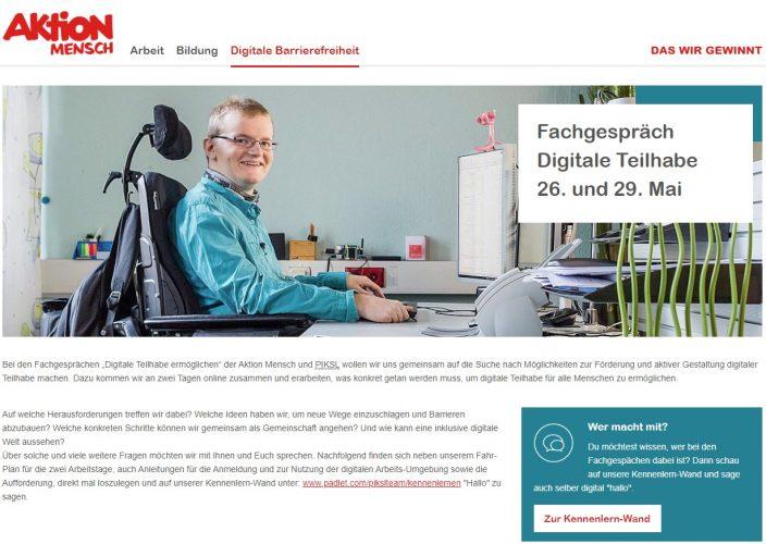 Screenshot Aktion Mensch Webseite für das Fachgespräch Digitale Teilhabe