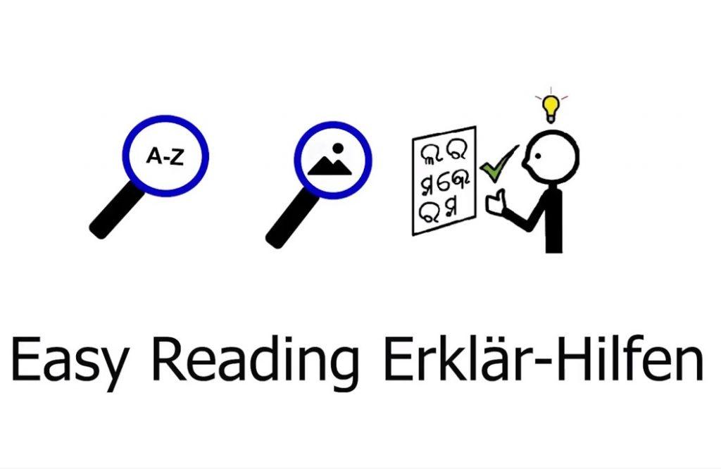 Symbole für Easy Reading Wort- und Bilderklärungs Hilfe und für Symbolsprache
