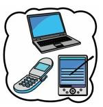 Illustration Laptop, Handy und Tablet